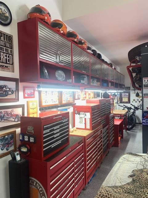 Mike Bilek's large garage has a work space. (Mike Bilek)