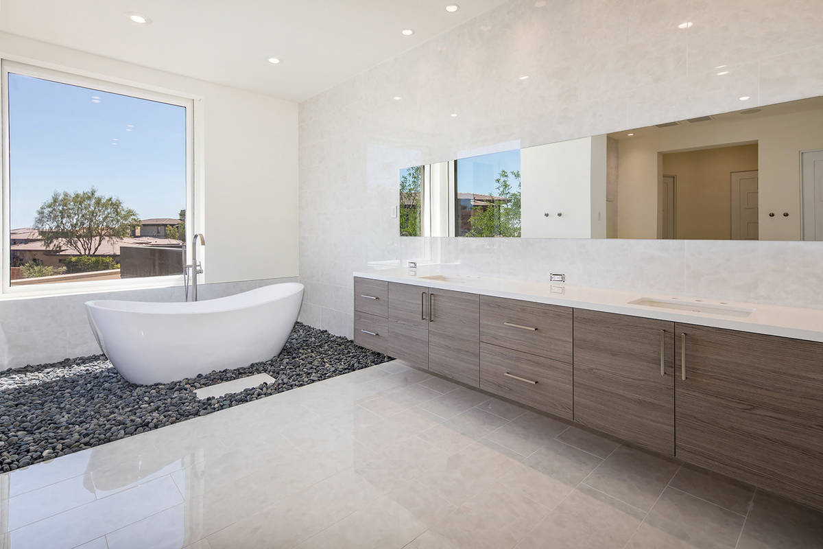 The master suite features a spa-like bathroom with an oversized shower and a soaking tub sittin ...