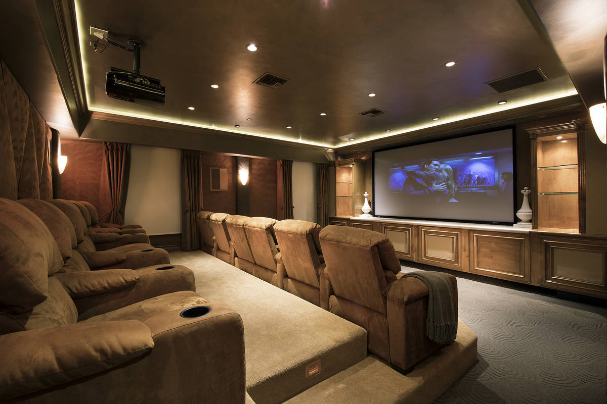 Nicolas Cage's former Las Vegas home features a large home theater. The mansion includes seven ...