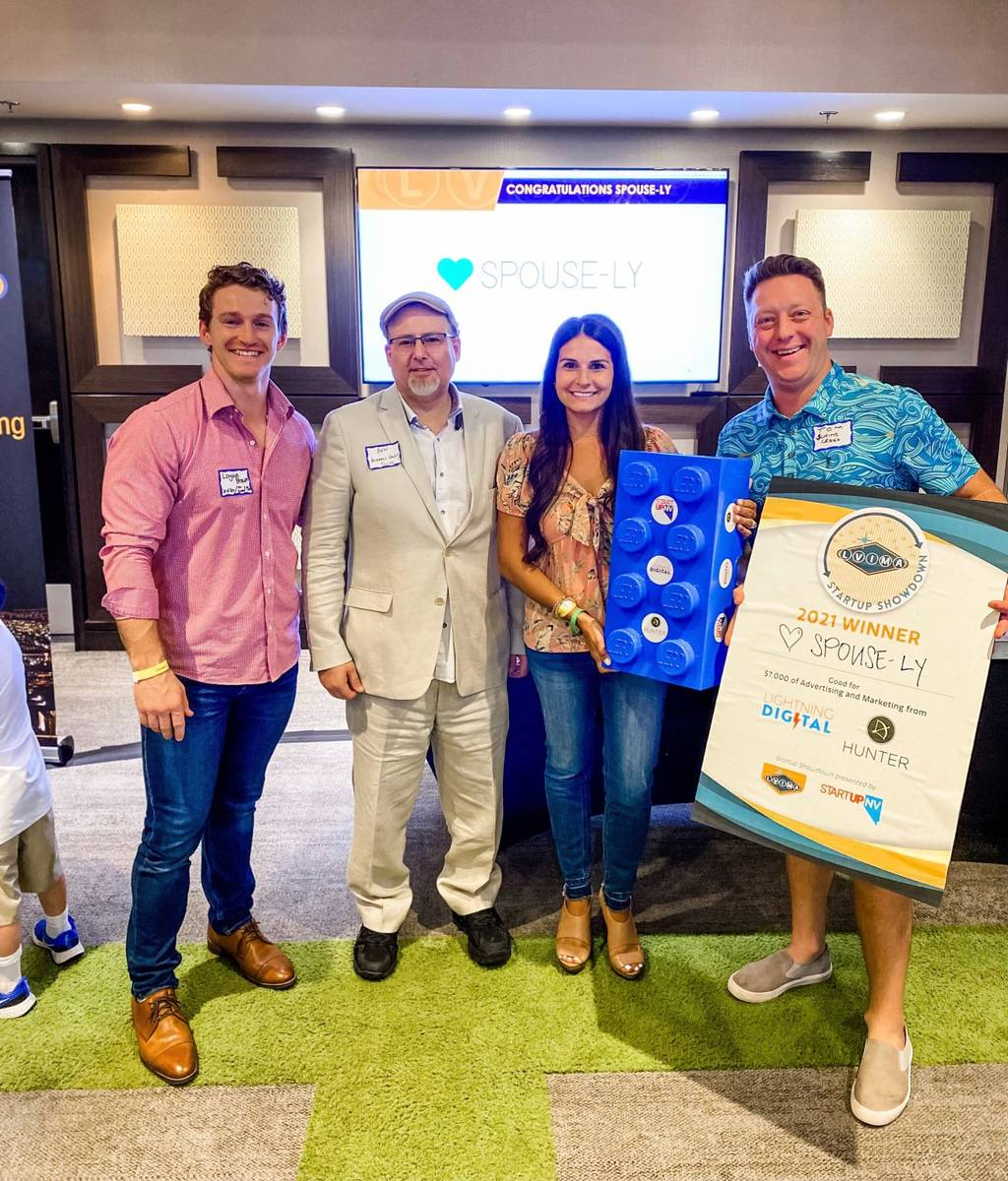 Monica Fullerton, center, won the Startup Showdown with her pitch for Spouse-ly. (LVIMA)