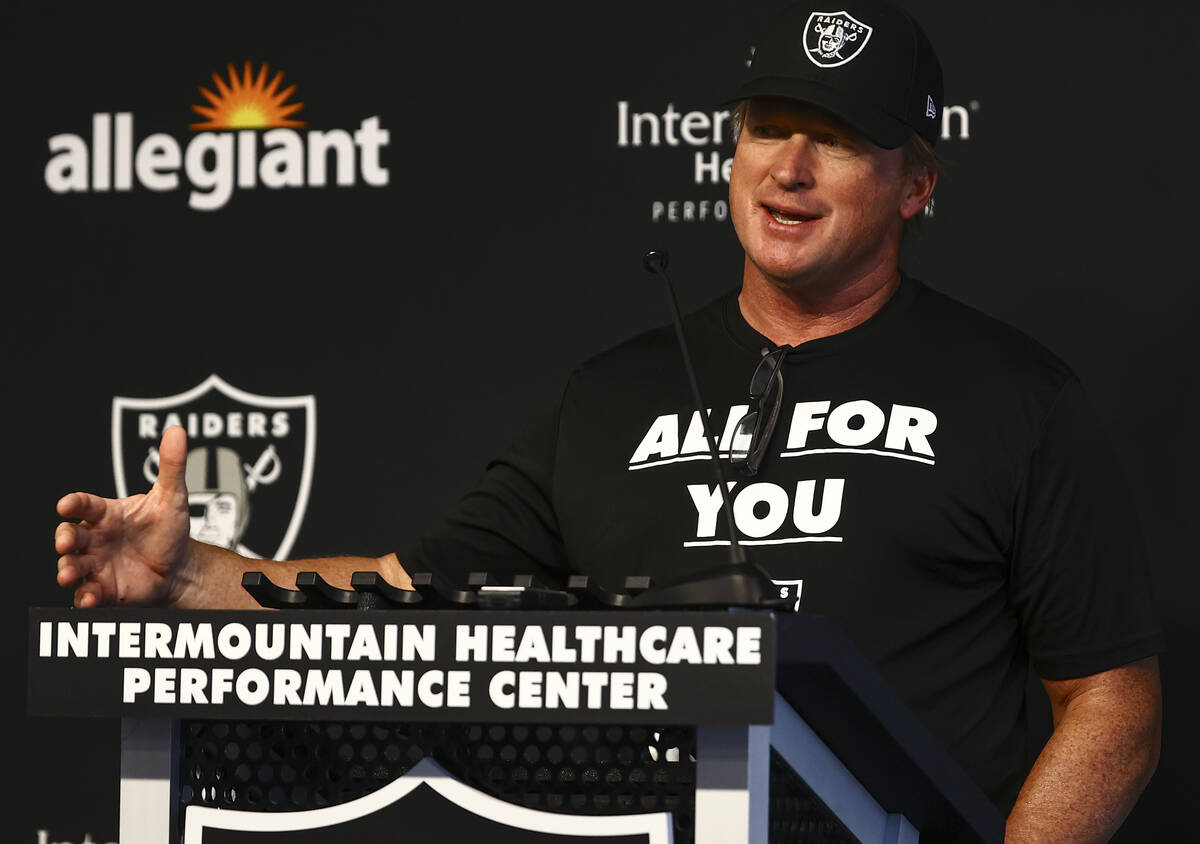 Raiders head coach Jon Gruden responds to questions from members of the media at Raiders Headqu ...