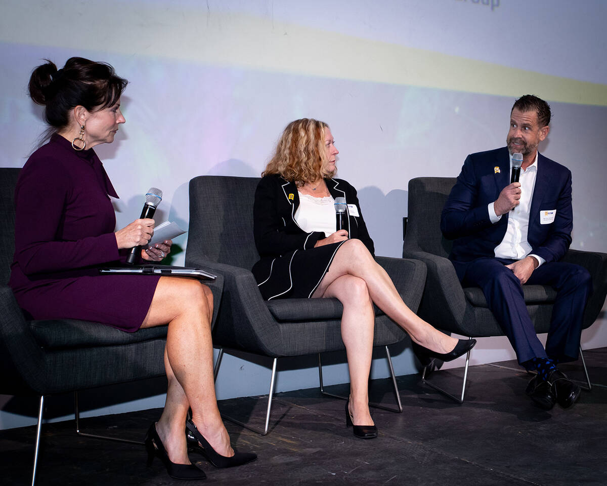 Vegas Chamber President and CEO Mary Beth Sewald led a panel discussion with Alex De Castroverd ...
